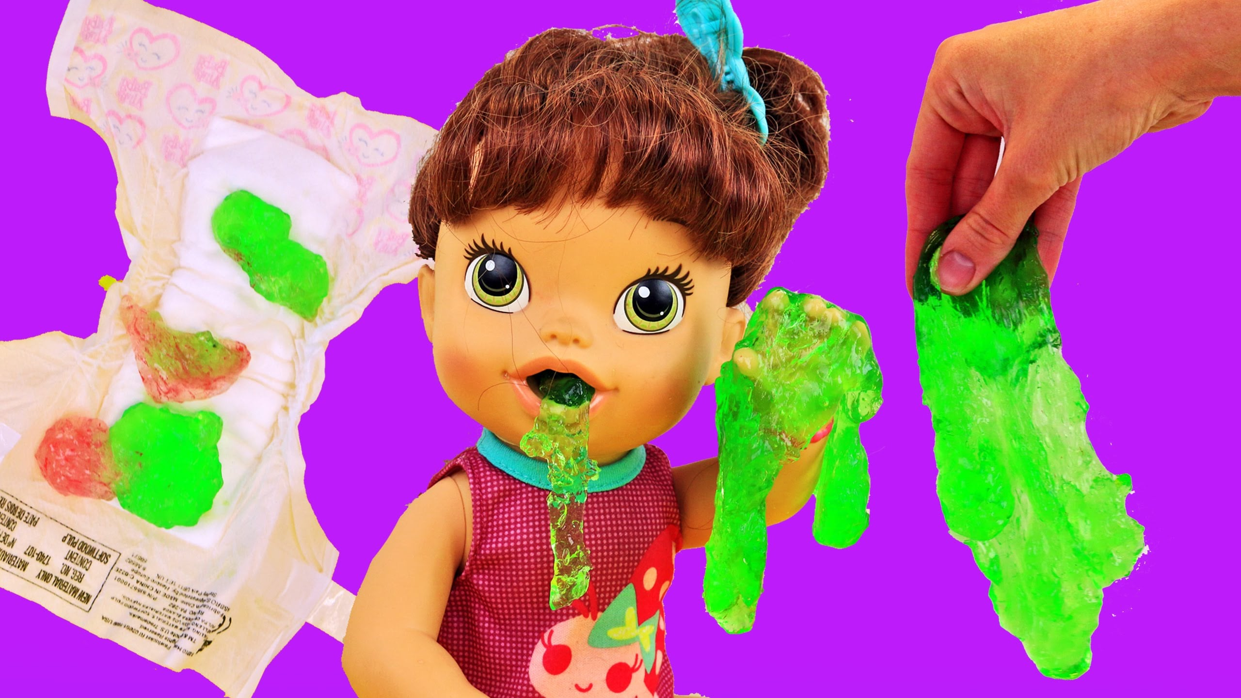 Child Alive Lucy Dolls Eats Slime Gooey Inexperienced